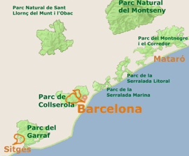 Natural Parks and maps for guided MTB tours around Barcelona