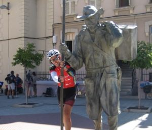 The Camino by bike with the Astorga statue
